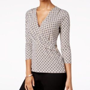 Charter Club Embellished Surplice Top
